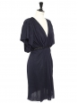 Blue grey silk and wool draped cocktail dress Retail price €2000 Size 38