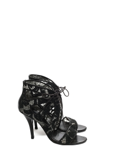 Black leather and lace ankle heel sandals Retail price €640 Size 37