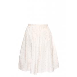 Jupe midi en coton plissé blanc rosé imprimé fleurs Prix boutique 160€ Taille 40