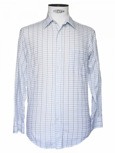 Chemise Homme en popeline de coton bleu ciel &agrave; carreaux Px boutique 160&euro; Taille 38