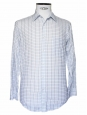 Chemise Homme en popeline de coton bleu ciel  carreaux Px boutique 160 Taille 38