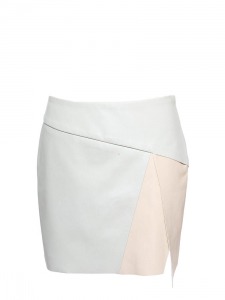 Pale pink and light grey faux leather asymmetric skirt Size 36