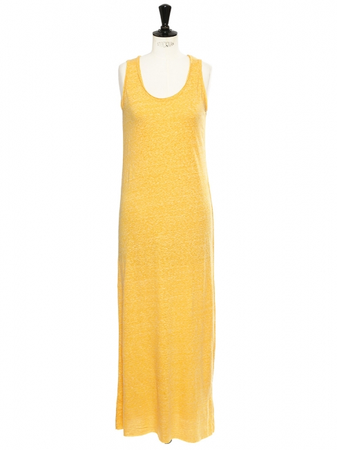 MASSACHUSETTS Heather banana yellow cotton maxi dress