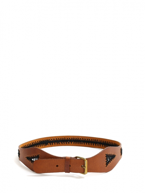Camel leather belt with ethnic-style embroideries Size XS