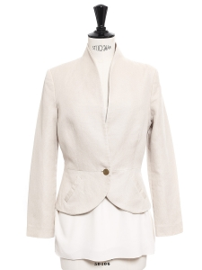 Petite veste boléro en coton beige et bouton doré Taille 34