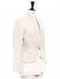 Beige cotton cropped jacket with single gold-tone button fastening Size 34