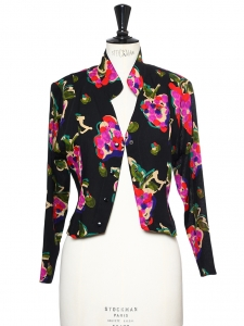 Veste courte boléro en lin noir imprimé coloré rouge, mauve et vert Taille 36