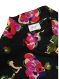 Green, purple red and black floral printed linen fitted jacket Size 36