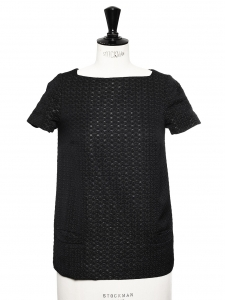 Black textured top embroidered with silver thread Retail price €135 Size 34