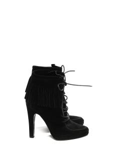 Bottines à talon en suède noir avec franges et lacets cuir Prix boutique 850€ Taille 37