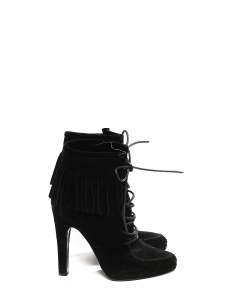 High heel black suede fringe ankle boots with leather laces Retail price €850 Size 37