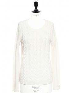 Pull col rond manches longues en laine torsadée blanc ivoire Prix boutique 120€ Taille 36