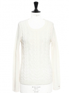 Ivory white wool cable knit round neck sweater Retail price €120 Size 36