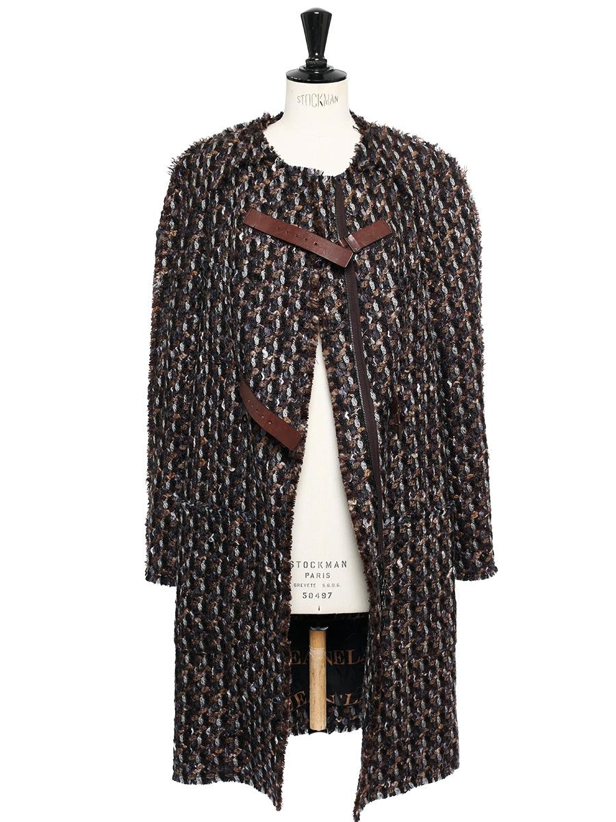 73a28d268bd7 ... Manteau en tweed de laine marron noisette, chocolat et gris bleuté Prix  boutique 2500€ ...