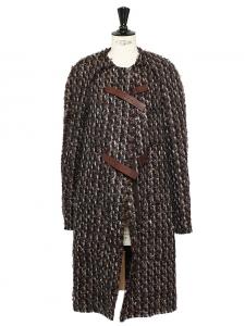 Manteau en tweed de laine marron noisette, chocolat et gris bleuté Prix boutique 2500€ Taille 38