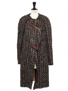 Nutmeg brown, chocolate and grey blue wool tweed coat Retail price €2500 Size 38