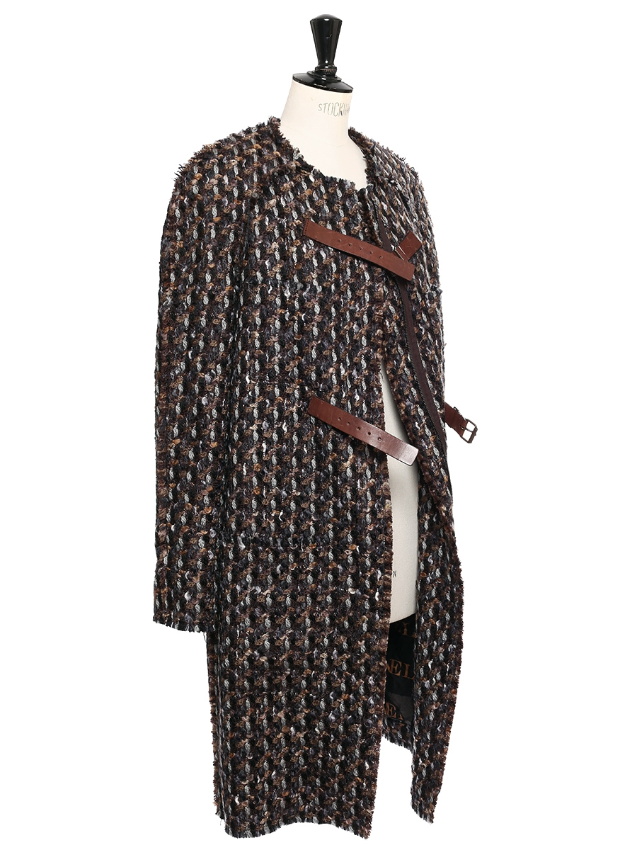 louise paris lanvin manteau en tweed de laine marron noisette chocolat et gris bleut prix. Black Bedroom Furniture Sets. Home Design Ideas