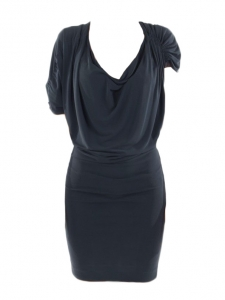 Peacock blue jersey fitted draped dress Retail price €1200 Size 36