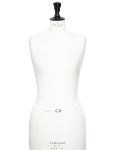 White leather thin belt with brass buckle Retail price €65 size 36