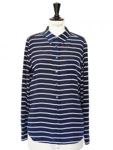 Chemise manches longues en soie rayée bleu blanc Px boutique 220€ Taille 38
