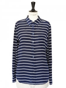 Navy blue and white striped silk shirt Retail price €220 Size 38