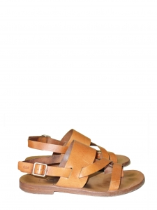 Camel leather buckled halter-back flat sandals Retail price €450 Size 38