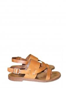 Sandales plates en cuir camel et boucle laiton Prix boutique 450€ Taille 38