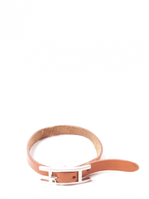 HAPI 3 MM brown fine leather bracelet with silver buckle Retail price €278