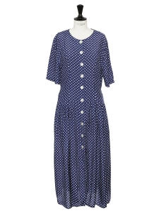 Navy blue and white polka dot printed dress Size 38