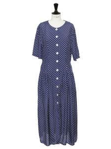 Robe longue bleu marine imprimé pois blanc manches courtes et boutons Taille 38