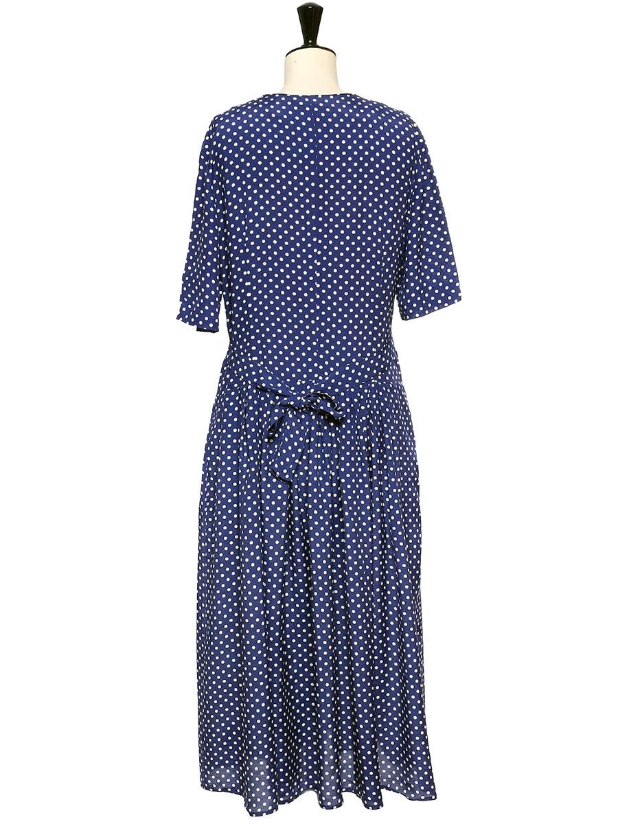 louise paris vintage robe longue bleu marine imprim. Black Bedroom Furniture Sets. Home Design Ideas