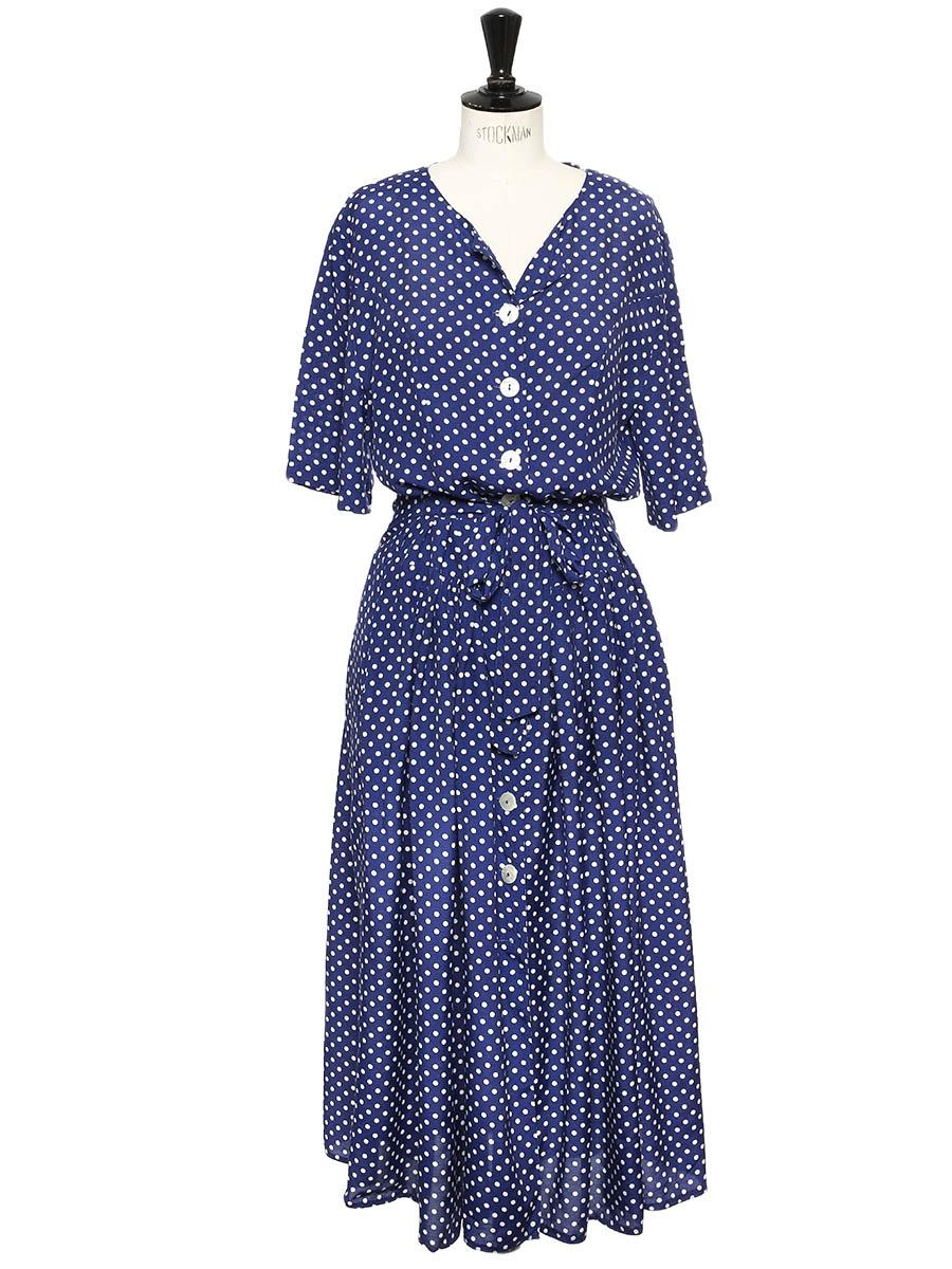 louise paris vintage robe longue bleu marine imprim pois blanc manches courtes et boutons. Black Bedroom Furniture Sets. Home Design Ideas