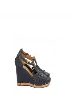 Sandales compensées en liège, cuir et denim bleu marine Prix boutique 590€ Taille 38