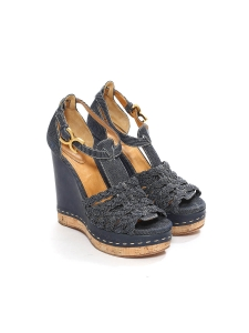 Blue denim canvas, camel leather and cork wedge sandals Retail price €590 Size 38