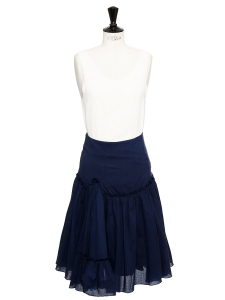 Navy blue cotton long skirt Size 36