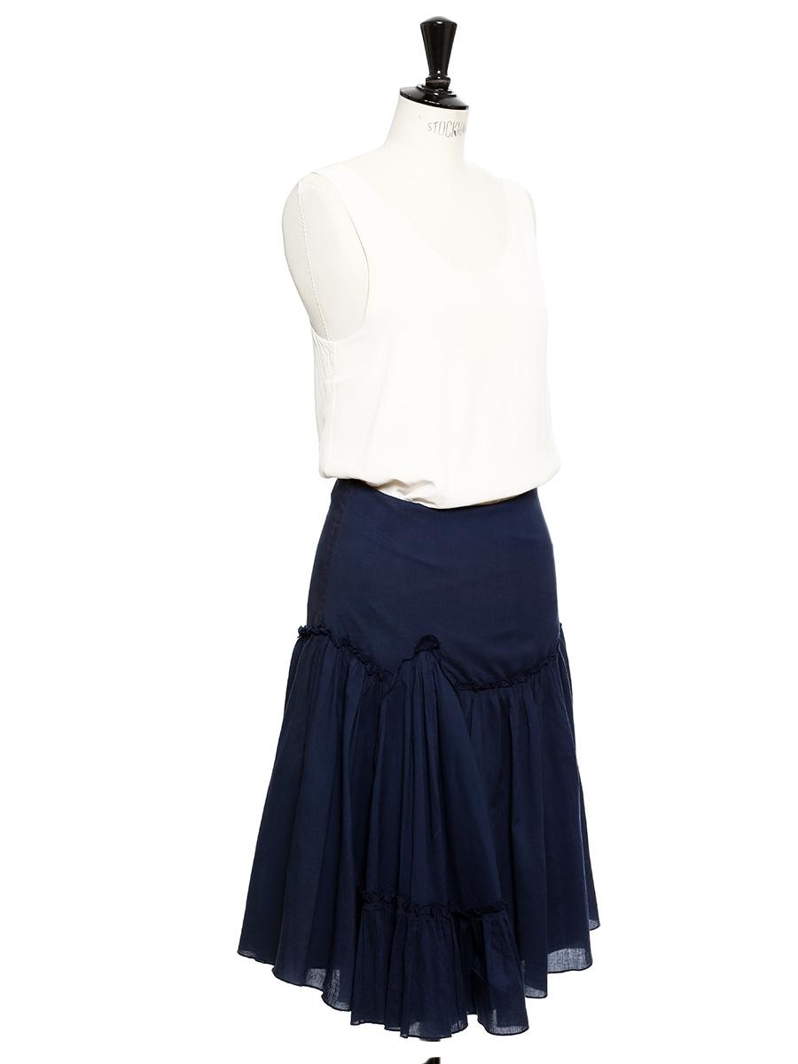 louise paris jupe longue en coton bleu marine taille 36. Black Bedroom Furniture Sets. Home Design Ideas