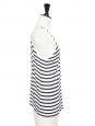 Débardeur réversible décolleté en lin mélangé rayé noir et blanc Prix boutique 150€ Taille 36