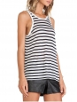 Black and white striped linen-blend reversible tank top Retail price €150 Size 36