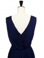 Navy blue cotton sleeveless dress embroidered with white beads Retail price €800 Size 34