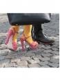 Sandales à talon et bride cheville en toile bleu marine à pois Prix boutique 396$ Taille 39
