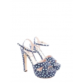 Blue and white polka-dot satin-twill platform sandals Retail price $396 Size 39