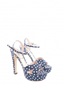 Blue and white polka-dot satin-twill platform sandals Retail price $396 Size 39