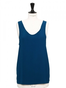 ICONIC Tuareg blue silk crepe tank top Retail price €390 Size 36