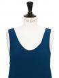 ICONIC Tuareg blue silk crepe tank top Retail price €390 Size 36