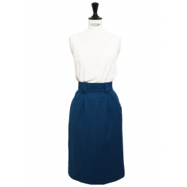 Jupe taille haute en coton bleu canard et bouton velours noir Taille 34