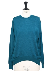 Pull fin col rond en laine fine bleu outremer Prix boutique 500€ Taille 38