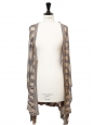 Beige and blue striped knitted long belted cardigan Retail price €130 Size 38