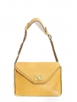 SALLY Honey yellow grained leather shoulder bag and gold chain Retail price €1710