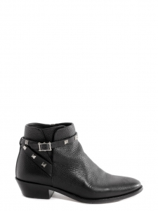 Rockstud black leather flat ankle boots Retail price €880 Size 36
