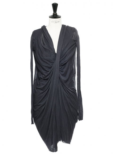 Anthracite grey jersey draped long sleeved dress Retail price €1600 Size 36